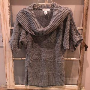 WHBM Gray Cowl Neck Short Sleeve Sweater